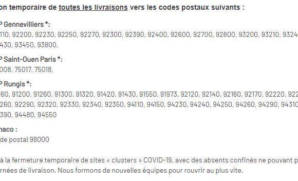 Info Expédition Région parisienne